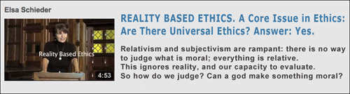 Elsa Schieder, PhD. Reality Based Ethics. Video