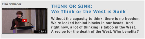 Elsa Schieder, PhD. Think or Sink: We Think or the West SInks