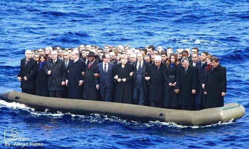 European leaders on ferry to Saudi Arabia or some similar country