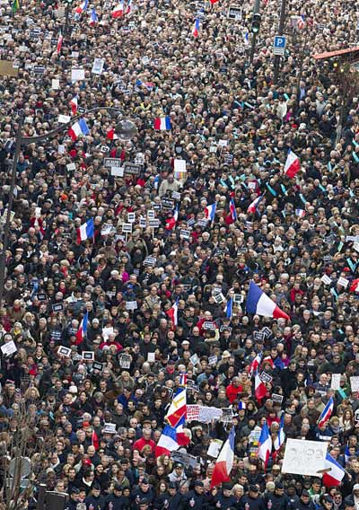 Paris crowd march