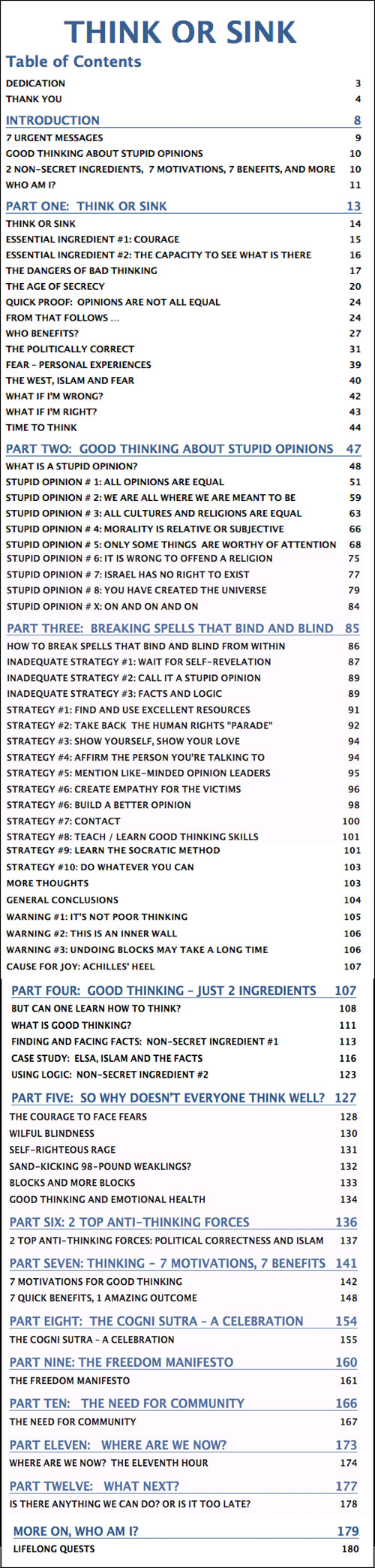 Think or Sink - table of contents